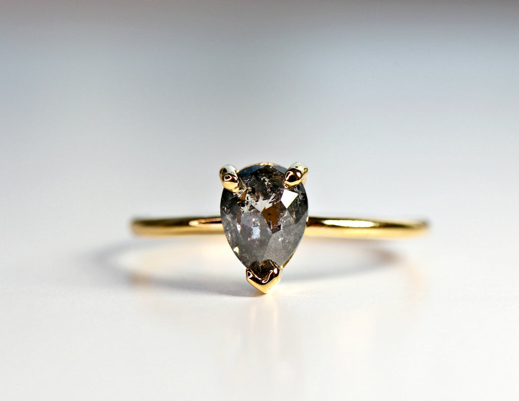 Salt and Pepper Diamond Ring, Rose Cut Pear Diamond Ring