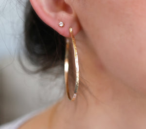 2 Inch Gold Hoop Earrings, Lightweight Gold Hoops