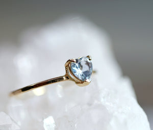Heart Aquamarine Ring