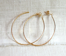 Load image into Gallery viewer, 2 Inch Gold Hoop Earrings, Lightweight Gold Hoops