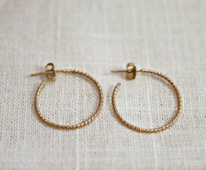 Gold Twisted Hoop Earrings, Dainty Gold Hoop Earrings