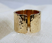 Load image into Gallery viewer, Gold Filled Wide Hammered Ring