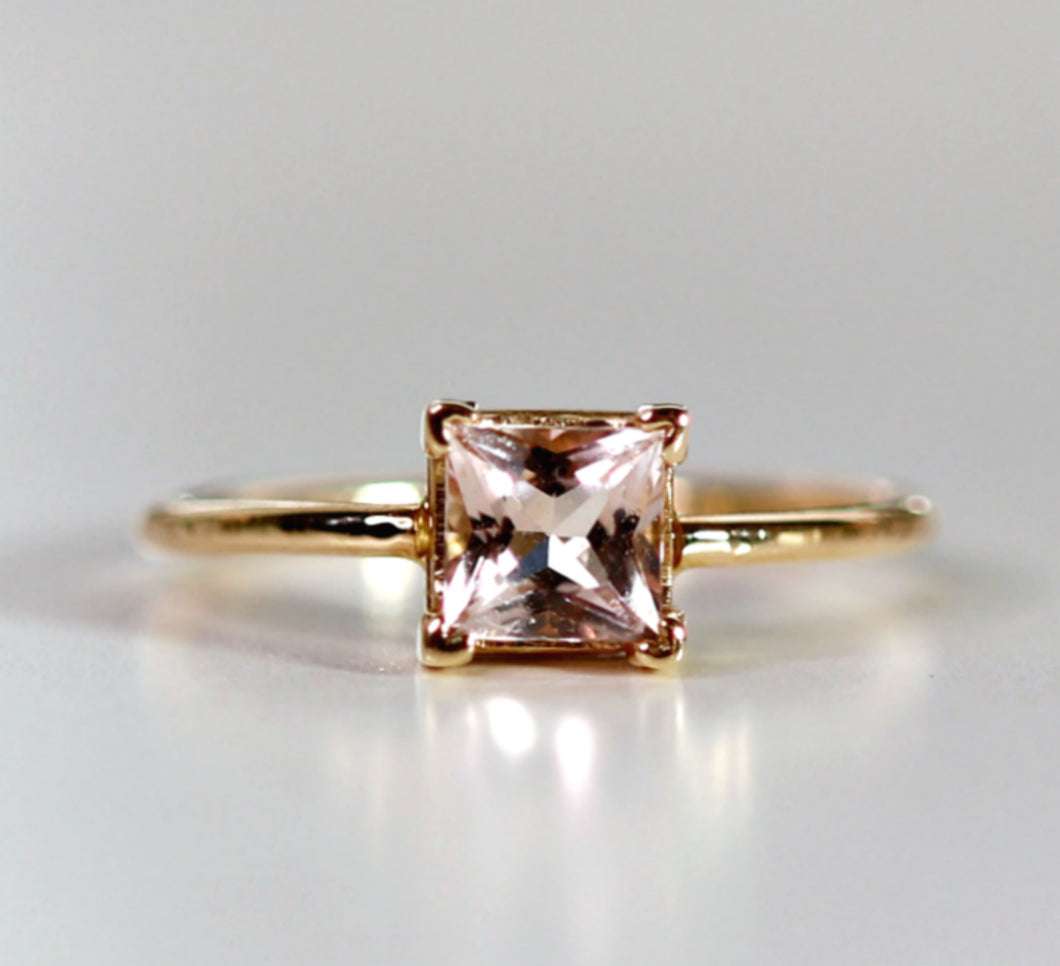 14k Gold Princess Cut Morganite Ring