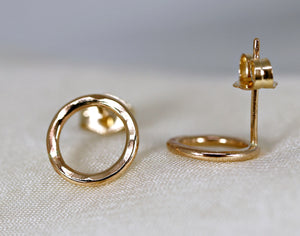 Hammered Gold Circle Stud Earrings