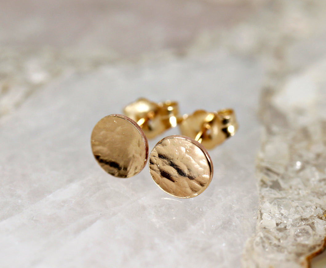 Gold Earrings, Gold Disc Stud Earrings, Small Circle Earrings