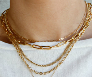 Elongated Thick Rectangle Chain Necklace