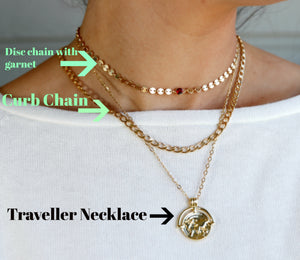 Gold Coin Chain Garnet Necklace, Garnet Choker