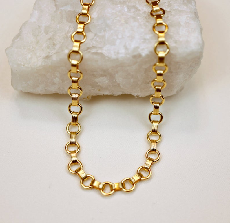 Gold Chunky Necklace,  Gold Filled Thick Chain Necklace