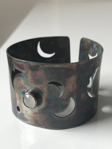 Crescent Moon Bracelet , Statement Cuff