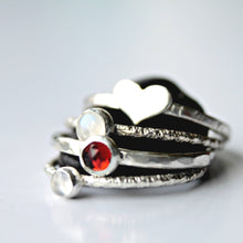 Load image into Gallery viewer, Silver Garnet Ring, Garnet stacking ring, January Birthstone Ring