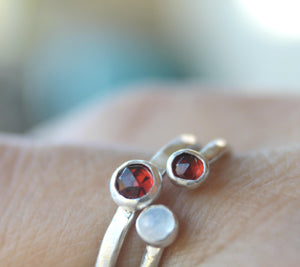 Silver Garnet Ring, Garnet stacking ring, January Birthstone Ring