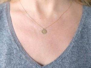 Personalized Initial Necklace, Delicate Gold Disc Necklace