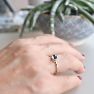14k Rose Gold Engagement Ring, London Blue Topaz