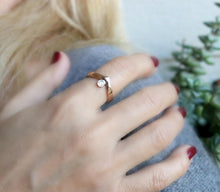 Load image into Gallery viewer, Rose Gold Diamond Engagement Ring, Chevron Wedding Band