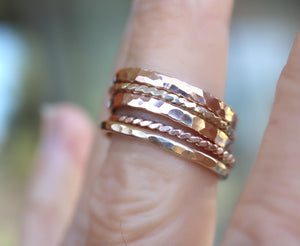 Gold Stacking Rings, Set of 5 Rings, Hammered and Twisted Bands