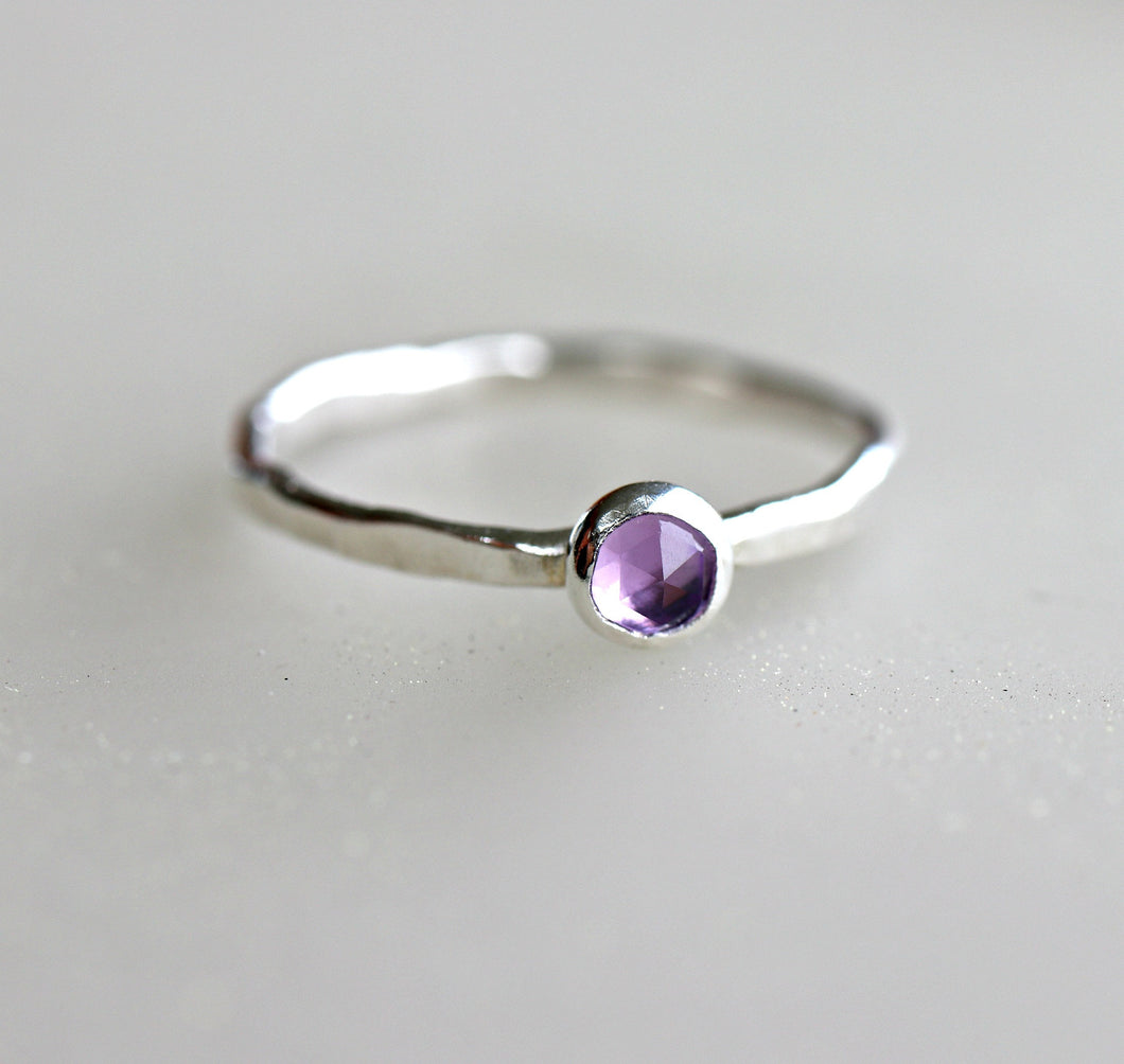 Sterling Silver Hammered Band Amethyst Ring, February Birthstone Ring