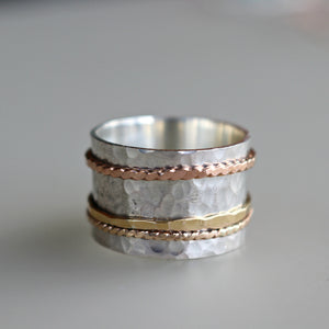 Worry Ring, Gold Spinner Ring