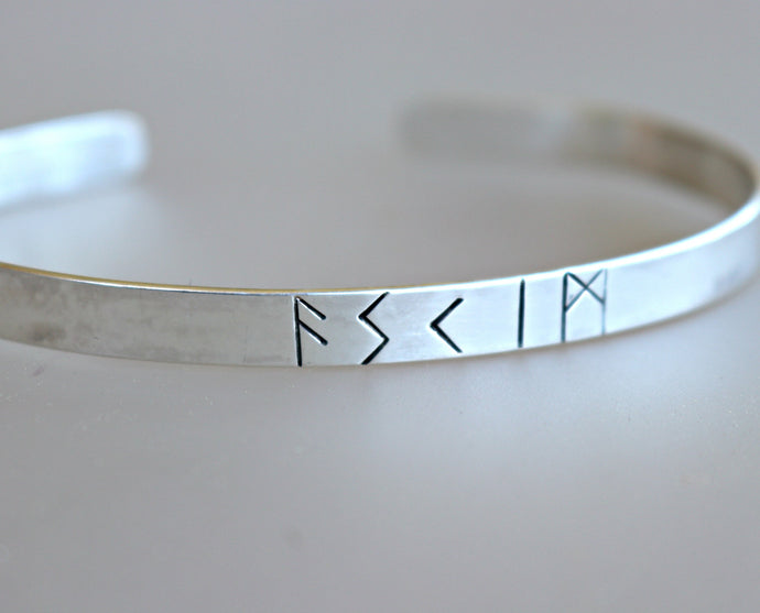 Dad Gift, Men's Cuff Bracelet, Personalized Custom Rune Cuff Bracelet, Father's Day Gift
