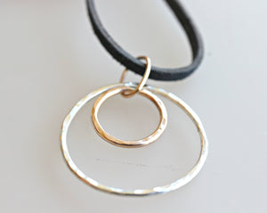 Double Circle Necklace, Sorority Gift, Gold & Silver Hammered Circle, Big Sis - Lil Sis Necklace, Modern Minimalist Necklace