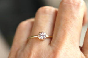 14k Gold Morganite Ring, Blush Gold Engagement Ring