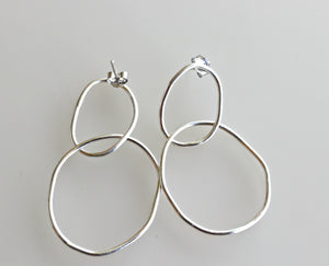 Double Hoop Earrings, Sterling Silver Hoop Earrings, Rose Gold Filled Hoop Post Earrings
