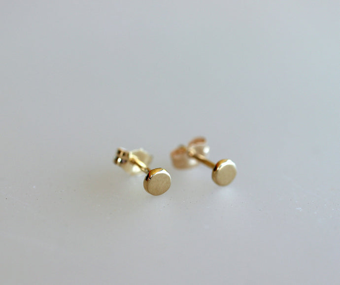 14k Yellow Gold Round Earrings