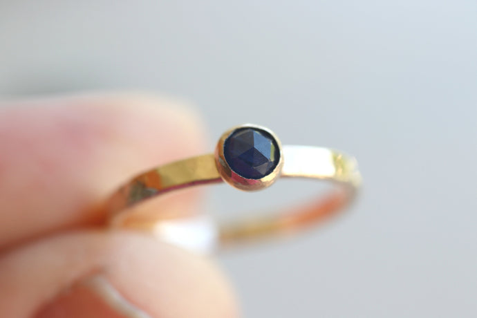 Blue Sapphire Solitaire Ring, September Birthstone Gold Filled Hammered Band