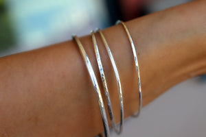 Cuff Bracelet, Hammered Sterling Silver Cuff, Open Bangle