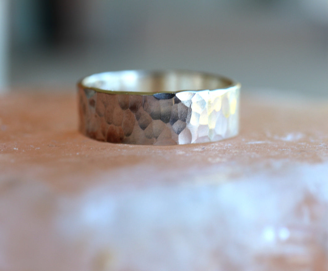 Personalized Hammered Wedding Band, Unisex Sterling Silver Ring, Rustic Wedding Ring