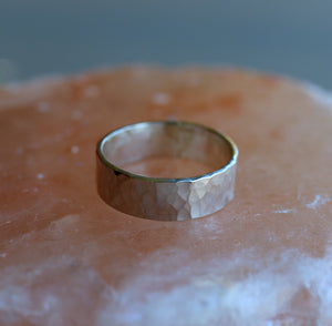 6mm Large Hammered Sterling Silver Band