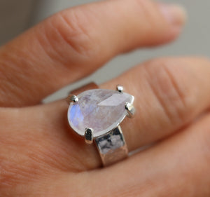 Rainbow Moonstone Ring, Wide Hammered Silver Band with June Birthstone