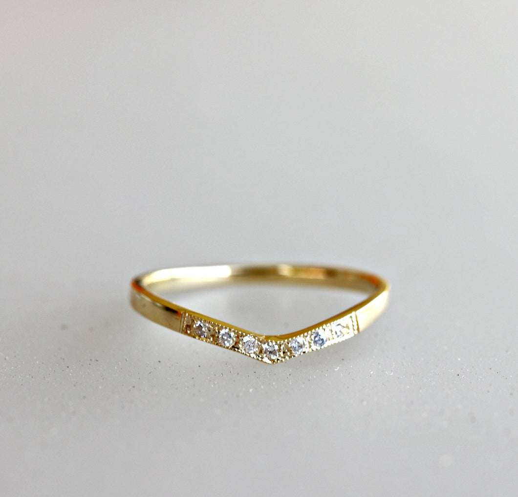 Curved Wedding Band, Diamond V Ring, Chevron Ring