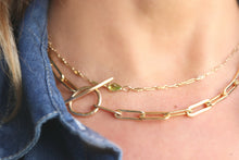 Load image into Gallery viewer, Gold Chunky Elongated Rectangle Chain Necklace, Toggle Layering Necklace