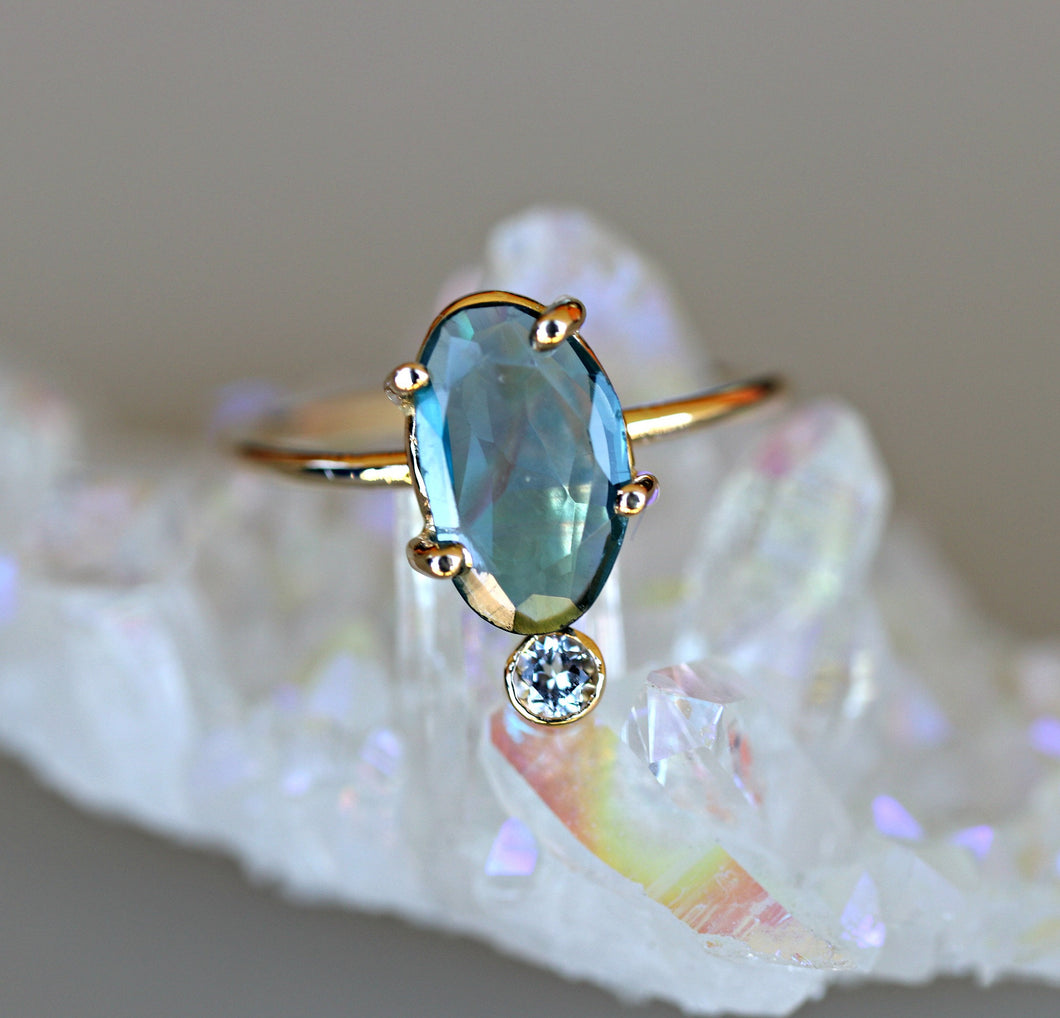 14k Solid Gold London Blue Topaz Ring