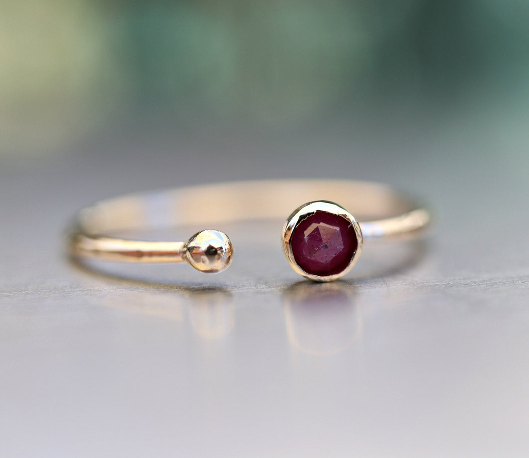 14k Gold Open Cuff Ruby Ring