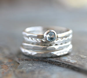 Blue Topaz Stacking Ring Set