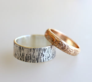 Tree Bark Men's Wedding Band, Wood Grain Sterling Silver Men's Ring