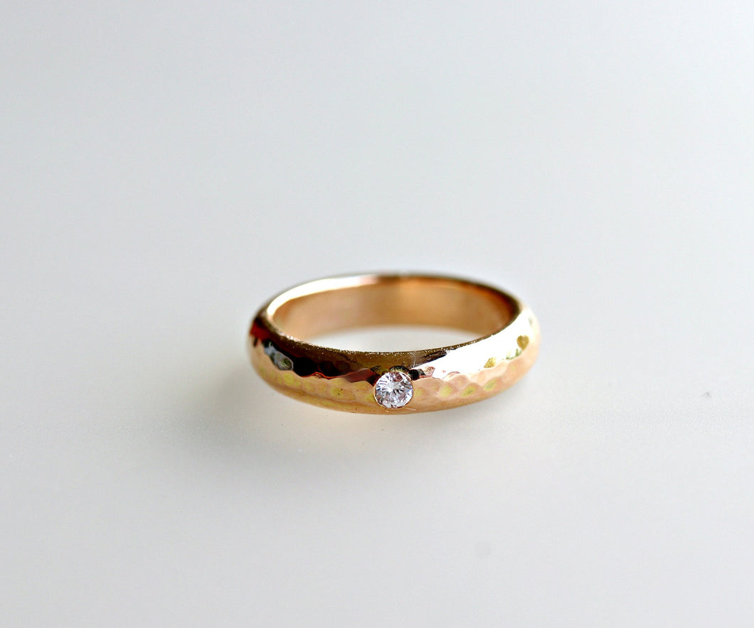 Tiny Diamond Wide Hammered Gold Wedding Band, Unique Wedding Ring