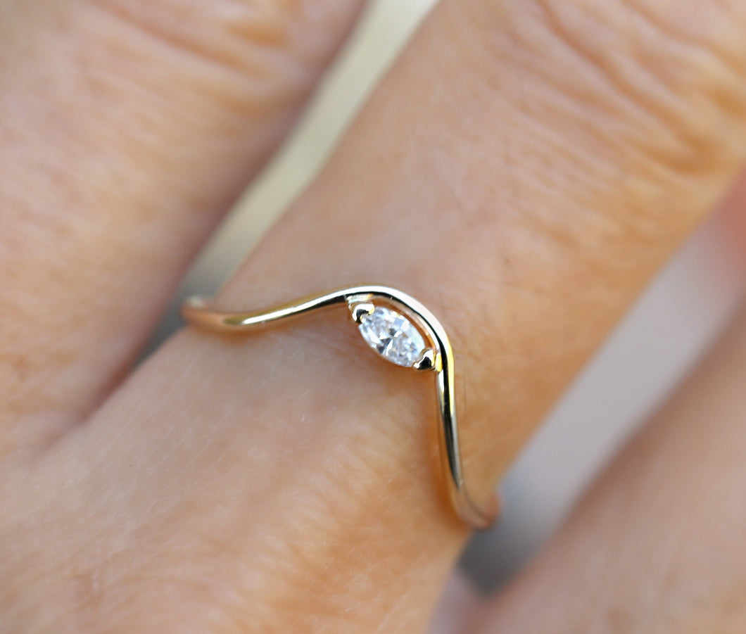 Curved Wedding Ring, Marquise Diamond Gold Band