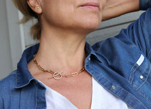 Gold Chunky Elongated Rectangle Chain Necklace, Toggle Layering Necklace