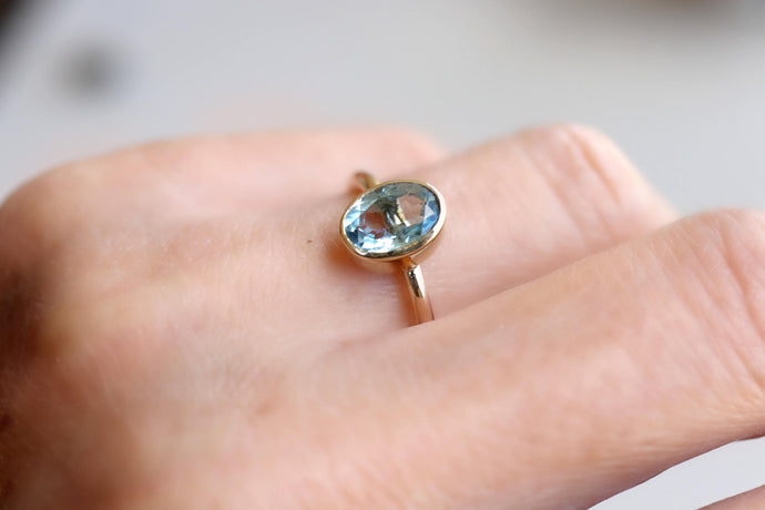 Aquamarine Ring with Diamond Curved Band, Anniversary Ring