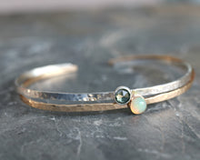Load image into Gallery viewer, Turquoise Cuff Bracelet, December Birthstone Hammered Cuff Bracelet