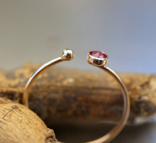 Load image into Gallery viewer, 14k Gold Open Cuff Ruby Ring