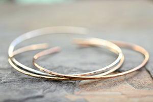 Thin Cuff Bracelet, Hammered Gold Open Bangle