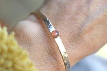 Load image into Gallery viewer, Sunstone Hammered Cuff Bracelet