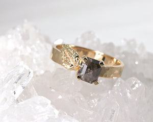 Princess Rose Cut Black Diamond and Leaf Ring