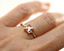 Load image into Gallery viewer, 14k Gold Princess Cut Morganite Ring