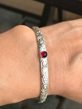 Load image into Gallery viewer, Garnet Cuff Bracelet, Floral Sterling Silver Band