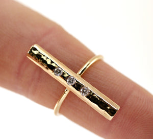 Diamond Bar Ring, 14k Gold Engagement Ring