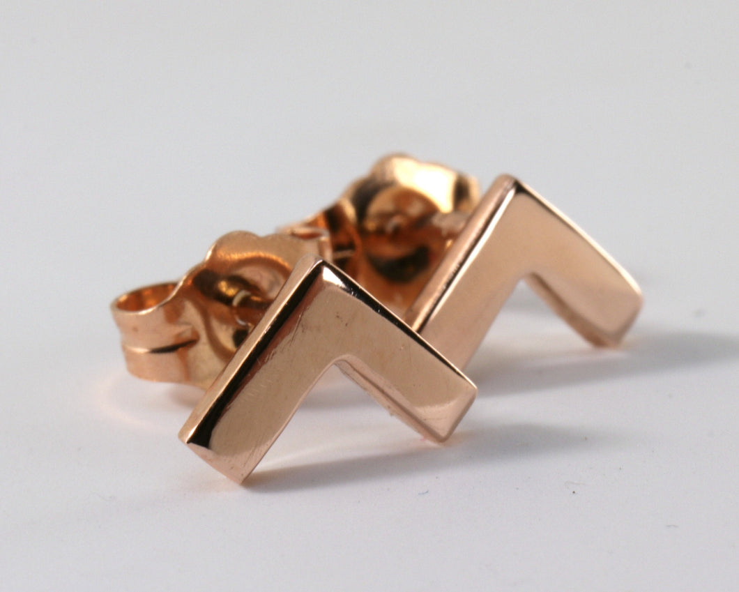 14k Solid Gold Chevron Stud Earrings
